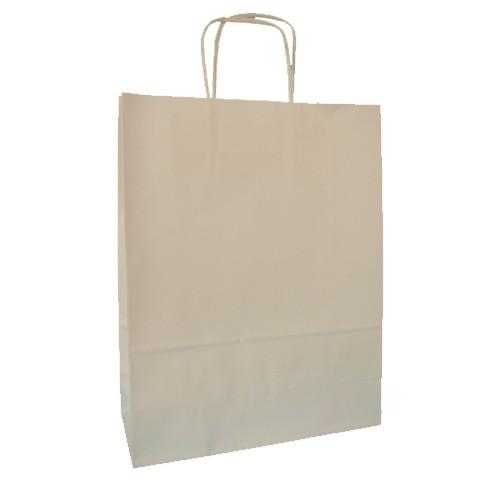 Borse Carta Kraft Bianco ritorta 36x12x41- 200 pz