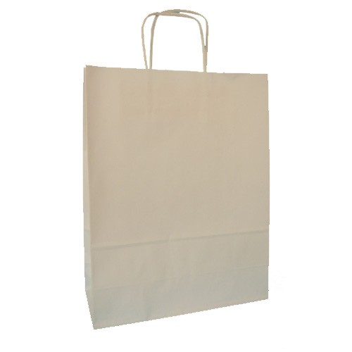 Borse Carta Kraft Bianco ritorta 36x12x46 - 250 pz