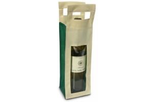 Borsa in TNT per 1 Bottiglia - ca. - 0.96 Euro Cad. - 10x8x36 – Verde - 200 Pz