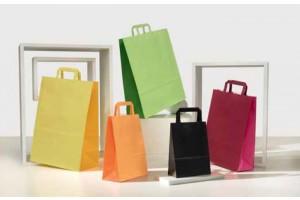 Shopper manico piatto bicolore