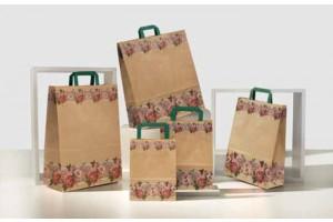 Shopper manico piatto con fascia fiorita