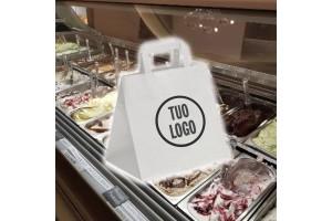 Shoppers in Carta da Asporto Take Away Bianco Riciclato - 0.45 Euro Cad. 27+17x29 600 Pz.