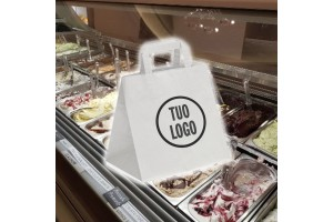 Shoppers in Carta da Asporto Take Away Bianco Riciclato – 0.49 Euro Cad. 32+22x34 600 Pz.