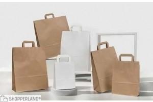 Shopper carta manico piatto Kraft avana senza stampa