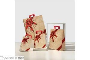 Shopper in carta con fiocco natalizio