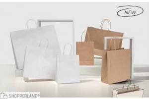 Shopper senza stampa su Kraft bianco (bordo risvoltato)